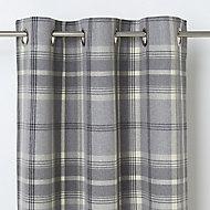 Podor Grey Check Unlined Eyelet Curtain (W)117cm (L)137cm, Single