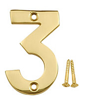 Polished Brass effect Metal House number 3, (H)75mm (W)48mm