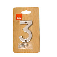 Polished Chrome effect Brass House number 3, (H)75mm (W)48mm