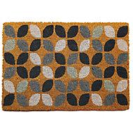 Primeur Fashion Flower Grey Coir & PVC Door mat (L)0.4m (W)0.58m