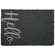 Primeur Fashion Hello Grey Coir & PVC Door mat (L)0.4m (W)0.58m