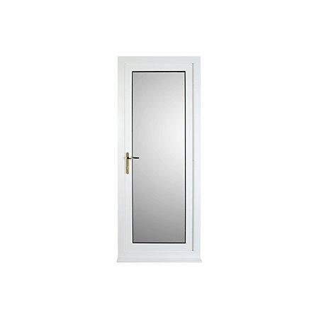 White PVCu Fully Glazed External Back Door & Frame Rh, (H)2055mm (W ...