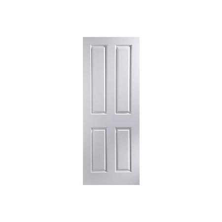 4 Panel Pre Painted White Woodgrain Unglazed Internal Standard Door H 1981mm W 610mm