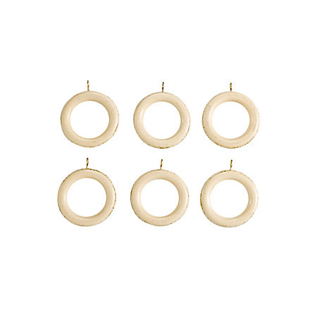 Colours Modern Cream Wood Curtain Ring Dia35mm Pack Of 6