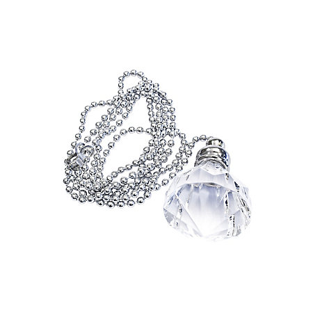 B Q Silver Diamond Crystal Effect Acrylic Light Pull Departments Diy At B Q