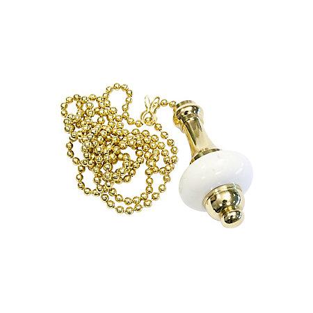 B Q Brass Effect Ceramic Light Pull Departments Diy At B Q