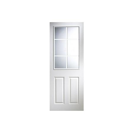 6 Panel Pre Painted White Woodgrain Glazed Internal Standard Door