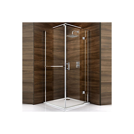 Cooke & Lewis Cascata Square Hinged Shower Enclosure, Tray & Waste ...