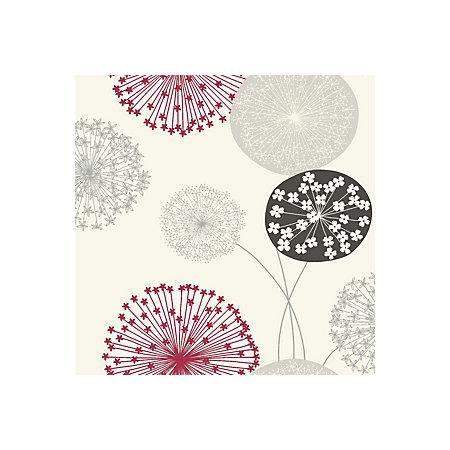 b q lucienne grey red floral wallpaper departments. Black Bedroom Furniture Sets. Home Design Ideas