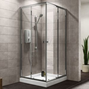 Plumbsure Square Shower Enclosure  Tray & Waste Pack with Double Sliding Doors (W)800mm (D)800mm