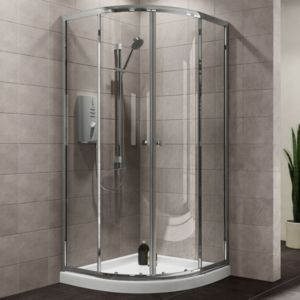 Plumbsure Quadrant Shower Enclosure  Tray & Waste Pack with Double Sliding Doors (W)800mm (D)800mm