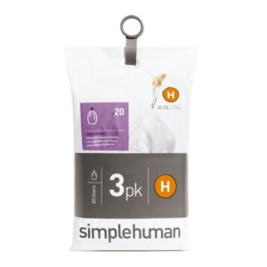 simplehuman White Plastic Bin Liner Size Code H 35L  Pack of 60