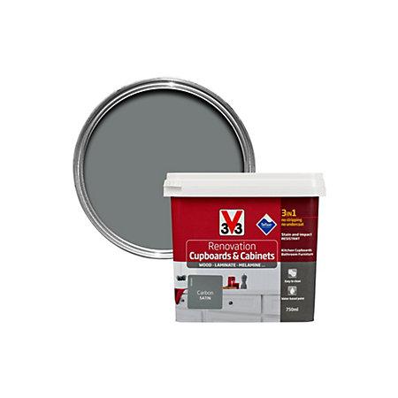 V33 Renovation Carbon Satin Kitchen Cupboard Cabinet Paint 750 Ml