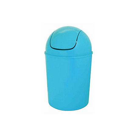 Flip top blue plastic bathroom bin 5l departments diy for Blue bathroom bin