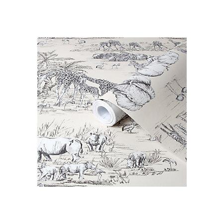 Colours Watering Hole Cream Animal Safari Metallic Wallpaper Departments Diy At B Q