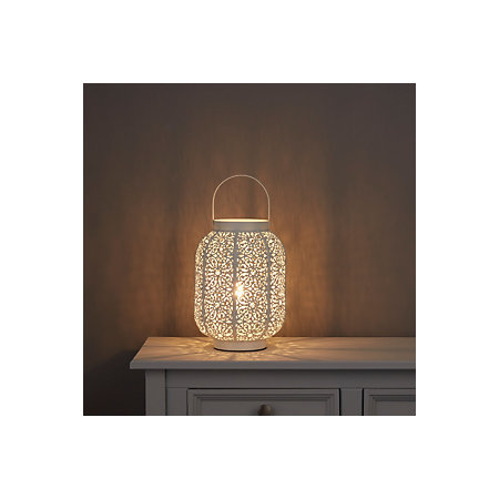 Cayne moroccan lantern white table lamp departments diy at bq 000 000 mozeypictures Image collections
