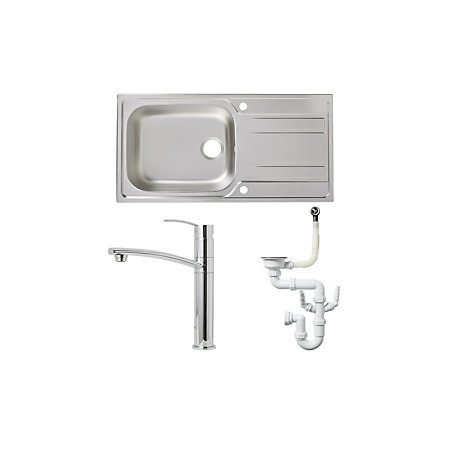 Cooke & Lewis 1 Bowl Stainless Steel Sink, Tap & Waste Kit ...