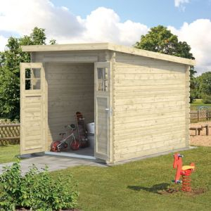 Image of 6X9 (4.9M2) Belaïa Pent Tongue & Groove Wooden Shed with Floor