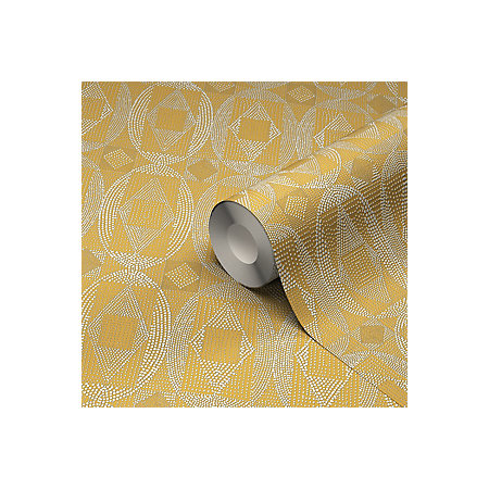 Goodhome Ortie Yellow Geometric Wallpaper Departments Diy At B Q