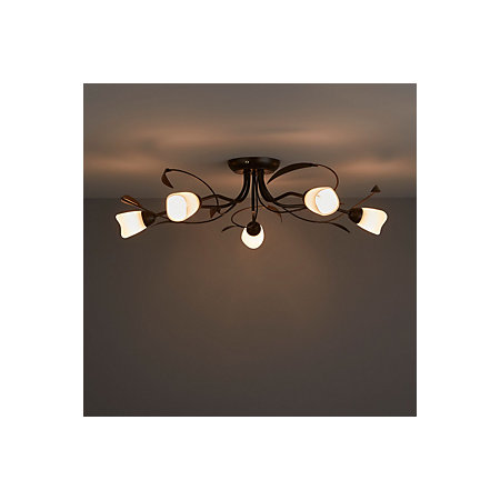 hot sale online 0030c 4acb9 Honos Brushed Black & brown 5 Lamp Ceiling light | Departments | TradePoint