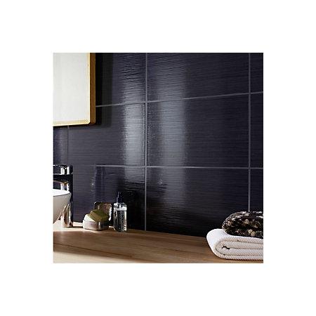 Salerna Black Gloss Ceramic Wall Tile Pack Of 17 L 250mm W 400mm Departments Diy At B Q