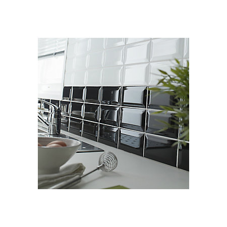 trentie black gloss metro ceramic wall tile, (l)200mm (w