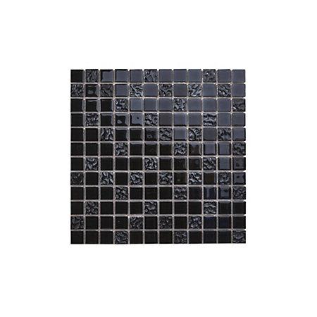flourencia black glass mosaic tile l 300mm w 300mm. Black Bedroom Furniture Sets. Home Design Ideas