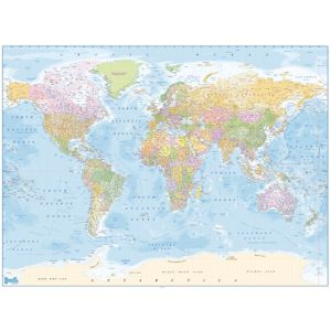1Wall Deco Blue World Map Wallpaper