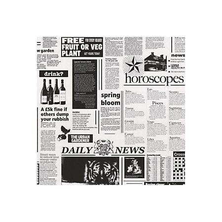 Statement Black White Newspaper Wallpaper
