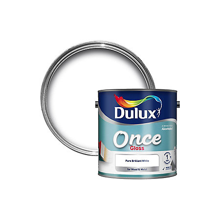 Dulux Pure brilliant white Gloss Wood & metal paint 2 5L | Departments |  DIY at B&Q