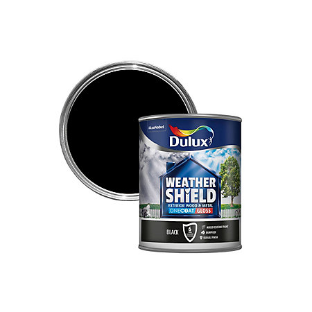 Dulux Weathershield Exterior Black Gloss Wood Metal Paint 750ml Departments Diy At B Q