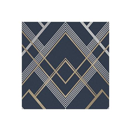 Fine Decor Flemming Gold Navy Geometric Metallic Wallpaper Departments Diy At B Q