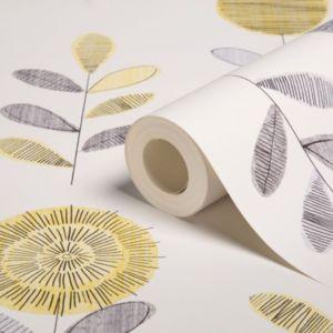 Graham & Brown Superfresco Grey & Yellow Floral Wallpaper