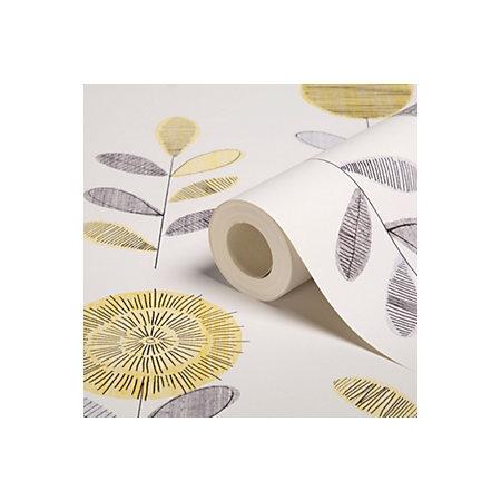graham brown superfresco grey yellow flower sketch wallpaper departments diy at b q. Black Bedroom Furniture Sets. Home Design Ideas