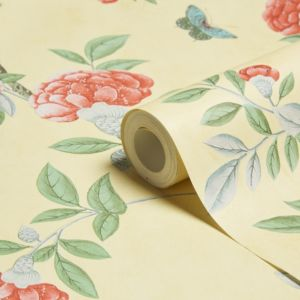 Graham & Brown Chinoiserie Imperial Yellow Floral Wallpaper
