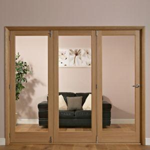 Image of 1 Panel Shaker 1 Lite Oak Veneer Glazed Internal Folding Door RH (H)2035mm (W)2146mm