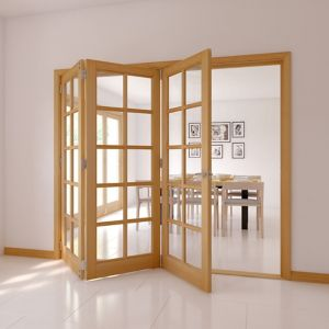 Image of 10 Lite Oak Veneer Glazed Internal Folding Door (H)2035mm (W)2374mm