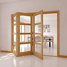 Tri fold doors internal doors 4 panel 4 lite oak veneer glazed internal folding door h2035mm w2374mm planetlyrics Choice Image