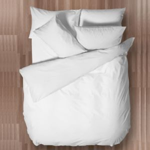 Chartwell Easy Care Plain White Double Bed Cover Set