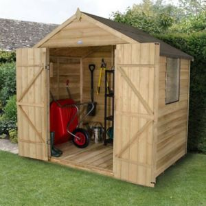 7 X5 Apex Overlap Wooden Shed with Base