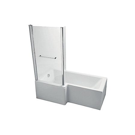 Ideal Standard Imagine LH Acrylic L shaped Shower Bath, front panel &  screen (L)1695mm (W)850mm | Departments | DIY at B&Q