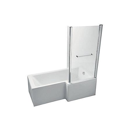 Ideal Standard Imagine RH Acrylic L shaped Shower Bath, front panel &  screen (L)1695mm (W)845mm | Departments | DIY at B&Q