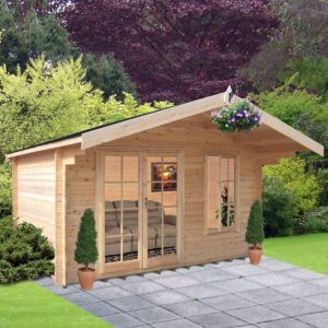 Image of 10x10 Cannock 28mm Tongue & Groove Log cabin with felt roof tiles With assembly service