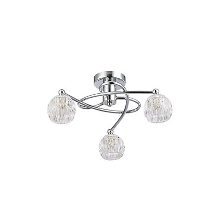 Chandler Brushed Chrome Effect 3 Lamp Ceiling Light