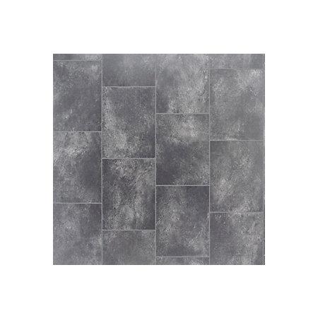 Grey slate tile effect vinyl flooring 4 m departments for Grey tile effect vinyl flooring