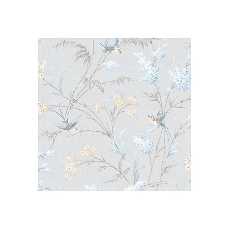 hailey grey blue floral birds glitter highlight wallpaper