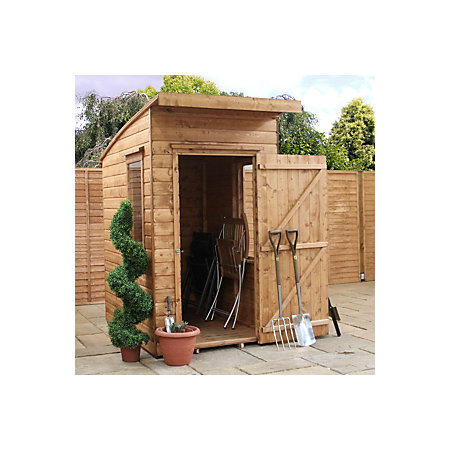 6x4 Aero Curved Roof Shiplap Wooden Shed Base Included