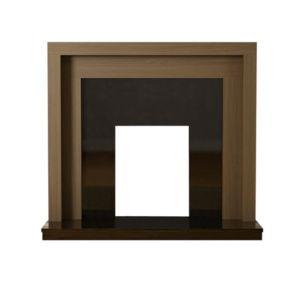 Pennington American Walnut & Black Veneered MDF & Micro Marble Fire Surround