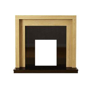 Pennington Natural Oak & Black Veneered MDF & Micro Marble Fire Surround