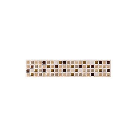 sandstorm beige stone effect mosaic ceramic border tile. Black Bedroom Furniture Sets. Home Design Ideas